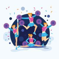 Gruppo di ragazze pon pon nell'illustrazione di azione