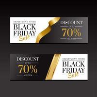 Modello in oro di lusso di banner vendita venerdì nero vettore