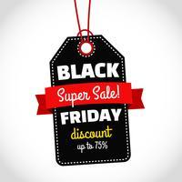 Vendita del venerdì nero con etichetta nera vettore