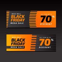 Modello arancione di vendita di venerdì nero banner vettore
