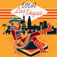 Segno al neon del Cowgirl a Las Vegas vettore