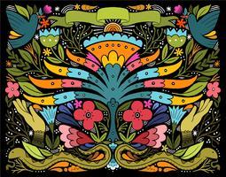collage di animali floreali vettore