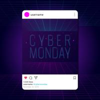 Modello di media sociali di retro cyber lunedì