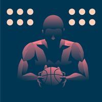 Ritratto di Ombra leggera superiore di pallacanestro dell'uomo