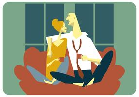 Una coppia che beve un vettore della tazza di caffè