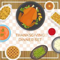 Illustrazione piana di vettore della tavola dell'alimento di ringraziamento