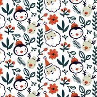 simpatico motivo natalizio con renne, pinguini e foglie vettore