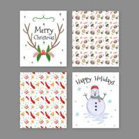 Collezione di cartoline di Natale carino vettore