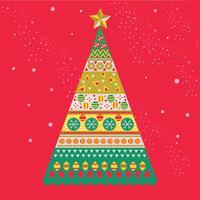 Albero di pino di Natale Mid-Century di stile scandinavo nei colori festivi
