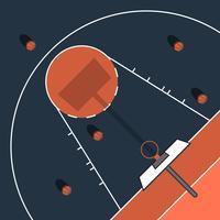 Illustrazione piana semplice all'aperto del campo da pallacanestro