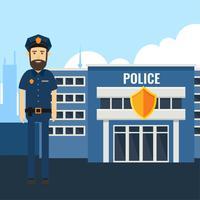 Vettore del carattere dell'ufficiale di polizia