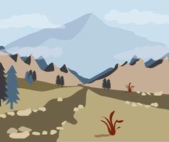 Vista attraverso la valle della montagna vettore