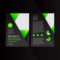 Modello di volantino moderno di affari moderno esagonale verde nero