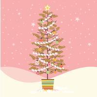Stile retrò decorato con albero di Natale di metà secolo