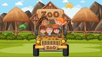 zoo di giorno in scena con molti bambini in una jeep vettore