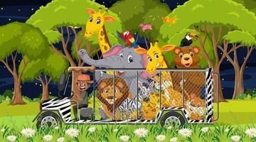 concetto di zoo con gruppo di animali selvatici nell'auto della gabbia cage vettore