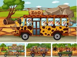 diverse scene di safari con animali e personaggi dei cartoni animati per bambini vettore