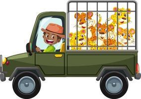 concetto di zoo con gruppo leopardo nell'auto gabbia isolata su sfondo bianco vettore