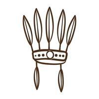 icona di stile della linea del cappello di piume native vettore