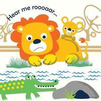 leone e coccodrillo divertente cartone animato animale vettore