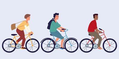 uomini in bicicletta vettore