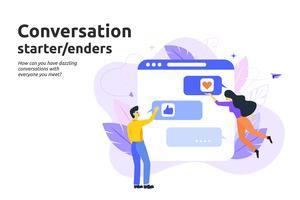 Inizio conversazione e concetto di iniziatori. Messaggio di testo uomo e donna