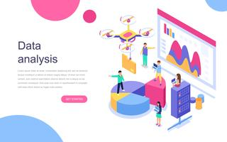Banner Web di analisi dei dati isometrici vettore