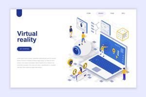 Banner Web isometrica di realtà virtuale vettore