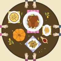 Vettore di vista superiore del tavolo dell'alimento di ringraziamento