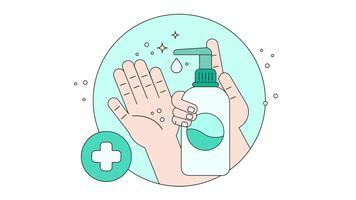 Vettore di mani disinfettate