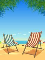 Estate spiaggia e sedie sullo sfondo vettore