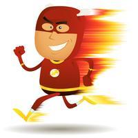 comico supereroe in esecuzione veloce vettore