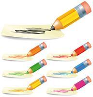Insieme della matita di colore che attinge segno in bianco