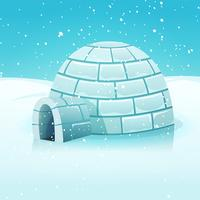 igloo di cartone animato nel paesaggio invernale polare