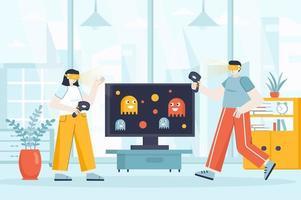 concetto di realtà virtuale nell'illustrazione vettoriale di design piatto