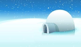 Igloo e sfondo ghiacciato polare vettore
