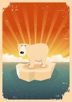 Poster vintage grunge di orso polare bianco vettore
