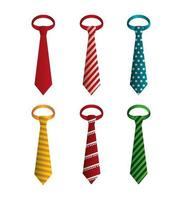 set di icone di cravatte eleganti vettore