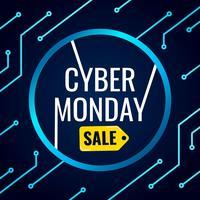 Bandiera di Cyber Monday con sfondo di tecnologia