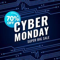Banner Cyber Monday con sfondo futuristico