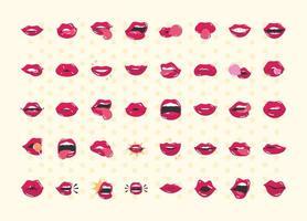 bocca e labbra pop art labbra femminili comiche impostate con un design icona piatto di un bacio sorriso lingua denti vettore