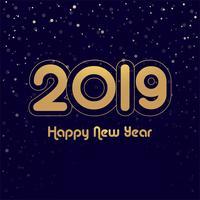 Elegante colorato lucido 2019 felice anno nuovo card design vettoriale