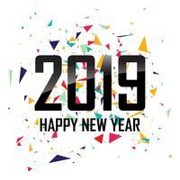 Felice anno nuovo 2019 con sfondo colorato coriandoli vettore