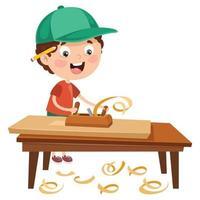 piccolo falegname cartone animato che lavora con i boschi vettore