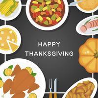 Illustrazione piana di vettore di vista superiore dell'alimento di ringraziamento
