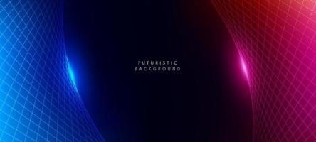 prospettiva astratta modello wireframe rosso e blu su sfondo scuro con copia spazio. concetto futuristico di tecnologia moderna. illustrazione vettoriale