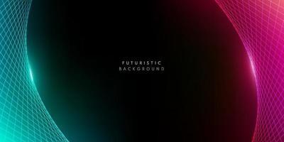 prospettiva astratta rosso rosa e verde modello wireframe su sfondo scuro con spazio di copia. concetto futuristico di tecnologia moderna. illustrazione vettoriale
