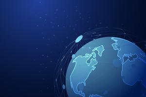 Astratta linea tratteggiata maglia su sfondo pianeta globale con poliziotto