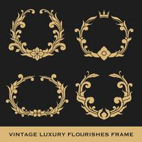 Set di Vintage Luxury Monogram Frame Template Design vettore