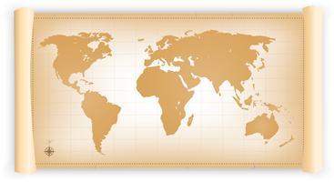 Mappa del mondo vintage su pergamena vettore